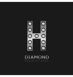 Silver h letter vector
