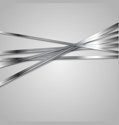 Tech metallic stripes on grey background vector