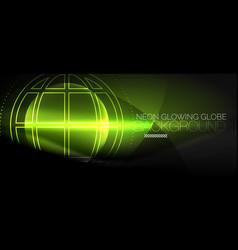 Techno globe concept neon glow planet vector