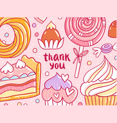 Thank you pastry background card vector