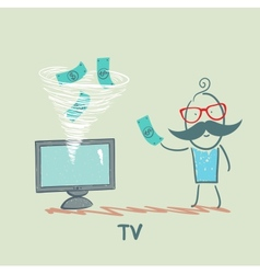 TV takes money from the man vector image