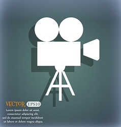 Video camera icon On the blue-green abstract vector image