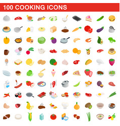 100 cooking icons set isometric 3d style vector image
