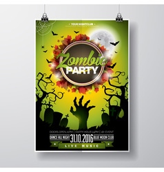 Halloween zombie party flyer design with moon vector