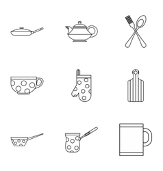 Dishes icons set outline style vector