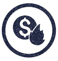 Burn money rounded grainy icon vector