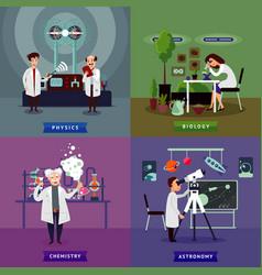 Flat scientific research square concept vector
