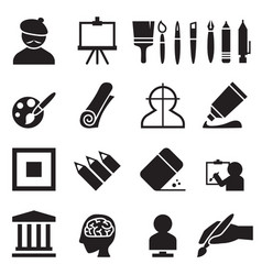Artist painting icons set vector