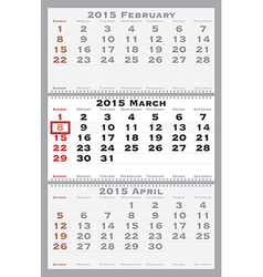 2015 march with red dating mark vector