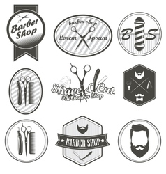Set of vintage barber shop emblems label badges vector