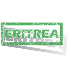 Green outlined eritrea stamp vector