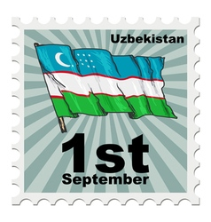 post stamp of national day of Uzbekistan vector image