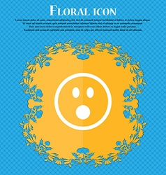 Shocked Face Smiley Floral flat design on a blue vector image