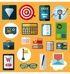 Financial and commerce flat icons vector