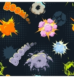 Seamless cartoon pattern with comic explosions vector image