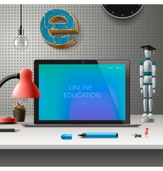 Online education concept workspace with computer vector