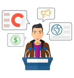 Man speaking on podium vector image