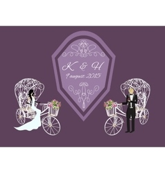 Bride and groom on a white tricycle vector