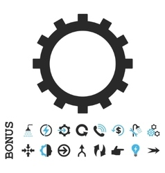 Gear flat icon with bonus vector