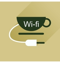 Flat icon with long shadow wi fi cup vector