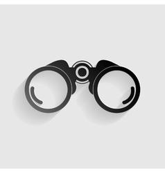 Binocular sign  black paper with vector