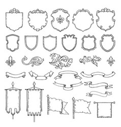 armed medieval vintage shields vector image vector image