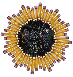 Back to school frame with colorful pencil and vector