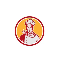 Baker chef cook bust front circle retro vector