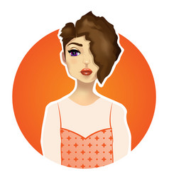 beautiful girl with big eyes red lips vector image vector image