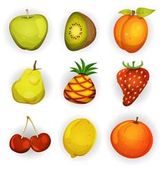 Cartoon fruit icons set vector