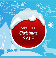 christmas sale poster on blue background vector image vector image