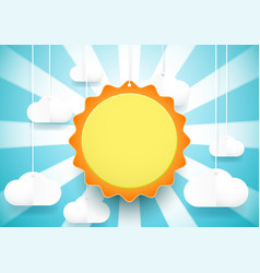 Cute sun and clouds background paper art and vector