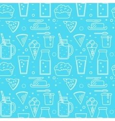 Dairy seamless pattern in line style design vector