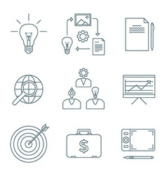 Dark outline creative business process icons set vector