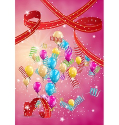flying balloons on red background vector image vector image