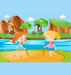 four kids playing in the public park vector image