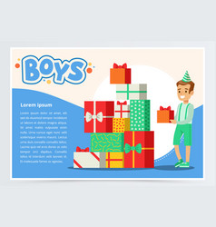 Happy boy and pile of colorful gift boxes cute vector