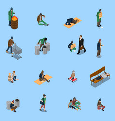 homeless people isometric set vector image