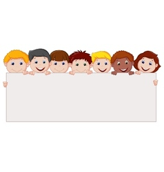 Kids cartoon with blank sign vector image vector image