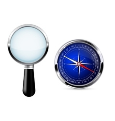 Magnifying glass with compass Research tool vector image