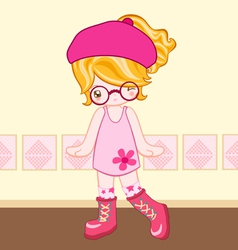 Pink dress cute look vector image vector image