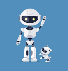 robot with raised arm and dog vector image