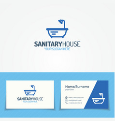 Sanitary house logo set with bathroom icon vector