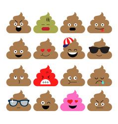 set of cute poop happy poop emoji emotional vector image vector image