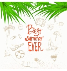 summer doodle with lettering and palm vector image
