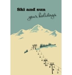 Winter background mountain landscape ski lift vector