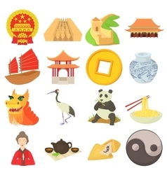 China travel sport icons set cartoon style vector image