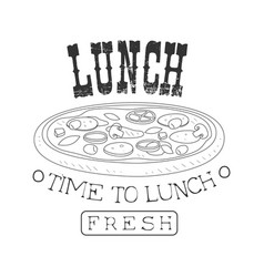 Fresh cafe lunch menu promo sign in sketch style vector