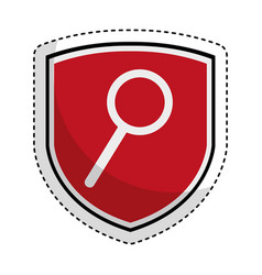 Shield insurance with magnifying glass isolated vector