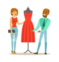 Designer demonstrating finished red dress to vector